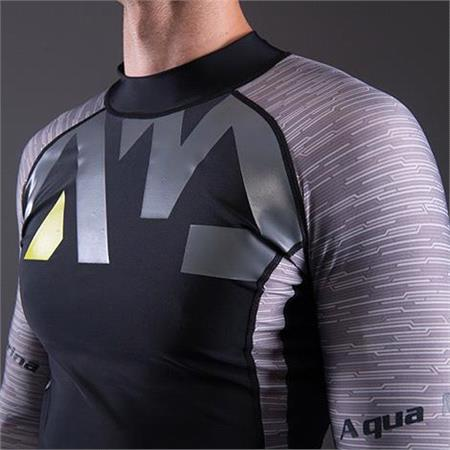 Aqua Marina Division Mens Long Sleeve Rashguard   Grey Print   Medium