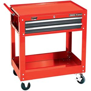 Tool Trolleys & Trays, Draper Expert 07635 2 Level Tool Trolley with Two Drawers, Draper