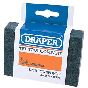 Sanding, Filing and Finishing, Draper 10106 Fine - Medium Grit Flexible Sanding Sponge, Draper