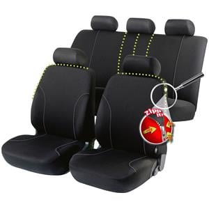 Seat Covers, Walser Allessandro Zipp-It Car Seat Cover Set - Black for Peugeot 207 Saloon 2007 Onwards, Walser