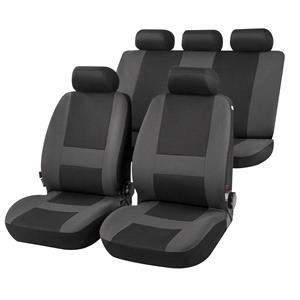 Seat Covers, Pocatello Complete Car Seat Covers in Grey & Black - for Peugeot 207 Saloon 2007 Onwards, Car Comfort by Walser