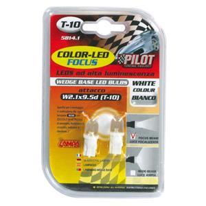 Bulbs - by Bulb Type, 12V Colour-Led, lamp 1 Led - (T10) - W2,1x9,5d - 2 pcs  - D-Blister - White, Pilot