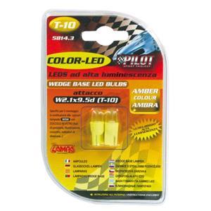 Bulbs - by Bulb Type, 12V Colour-Led, lamp 1 Led - (T10) - W2,1x9,5d - 2 pcs  - D-Blister - Amber, Pilot