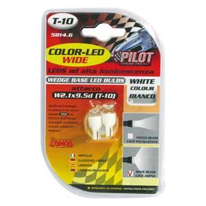 Bulbs - by Bulb Type, 12V Colour-Led Wide, lamp 1 Led - (T10) - W2,1x9,5d - 2 pcs  - D-Blister - White, Pilot