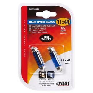 Bulbs - by Bulb Type, 12V Blue Dyed Glass, festoon lamp - 11x44 mm - 10W - SV8,5-8 - 2 pcs  - D-Blister, Pilot