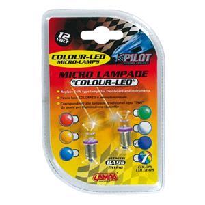 Bulbs - by Bulb Type, 12V Micro lamp 1 Led - (T4W) - BA9s - 2 pcs  - D-Blister - Purple, Pilot