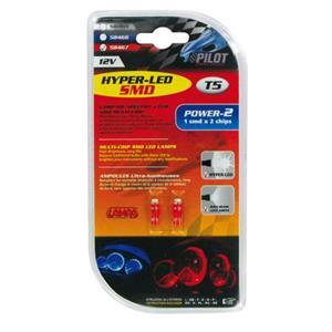 Bulbs - by Bulb Type, 12V Hyper-Led 2 - 1 SMD x 2 chips - (T5) - W2x4,6d - 2 pcs  - D-Blister - Red, Pilot