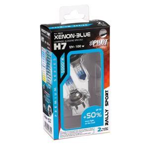 Bulbs - by Bulb Type, 12V Xenon Blue halogen lamp +50 light - (H7) - 100W - PX26d - 2 pcs  - Box, Pilot