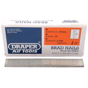 Staplers, Draper 59823 15mm Brad Nails (5000), Draper