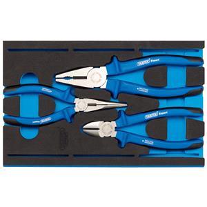1/4 Drawer EVA Insert, Draper Expert 63262 Heavy Duty Plier Set in 1-4 Drawer EVA Insert Tray (3 Piece), Draper