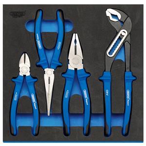1/2 Drawer EVA Insert, Draper Expert 63263 Heavy Duty Plier Set in 1-2 Drawer EVA Insert Tray (4 Piece), Draper