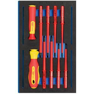 1/4 Drawer EVA Insert, Draper Expert 63359 VDE Ergo Plus Screwdriver Set in 1-4 Drawer EVA Insert Tray (10 Piece), Draper