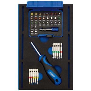 1/4 Drawer EVA Insert, Draper Expert 63514 Screwdriver Insert Bits and Driver in 1-4 Drawer EVA Insert Tray (40 Piece), Draper