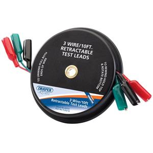 Battery Testers, Draper Expert 64761 10ft 3 Wire Retractable Test Leads, Draper