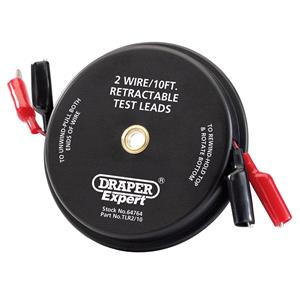 Battery Testers, Draper Expert 64764 10ft 2 Wire Retractable Test Leads, Draper
