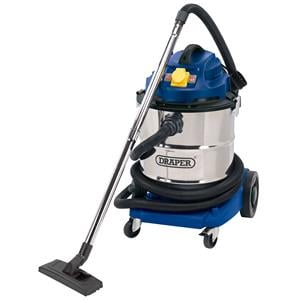 Vacuum Cleaners, Draper 75443 50L 110V Wet and Dry Vacuum Cleaner with Stainless Steel Tank and 110V Power Tool Socket (1500W), Draper