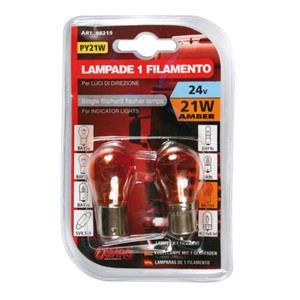 Bulbs - by Bulb Type, 24V Single filament lamp - PY21W - 21W - BAu15s - 2 pcs  - D-Blister - Amber, Lampa