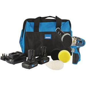 Machine Polishers, Draper Storm Force® 10.8V Power Interchange Mini Polisher Kit (+2 x 4Ah Batteries, Charger and Bag), Draper