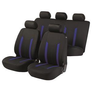 Seat Covers, Walser Basic Zipp-It Hastings Car Seat Cover Set - Black & Blue For Peugeot 207 Saloon 2007 Onwards, Walser