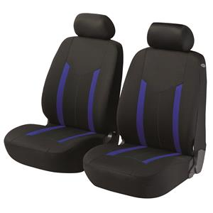 Seat Covers, Walser Basic Zipp-It Hastings Front Car Seat Covers - Black & Blue For Peugeot 207 Saloon 2007 Onwards, Walser