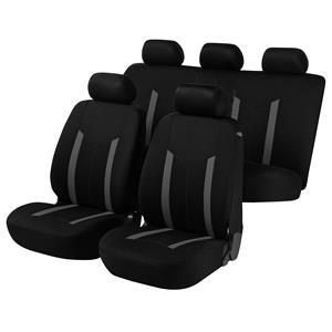 Seat Covers, Walser Basic Hastings Car Seat Cover Set - Grey & Black for Peugeot 207 Saloon 2007 Onwards, Walser