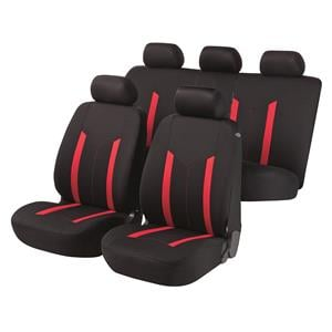 Seat Covers, Walser Basic Hastings Car Seat Cover Set - Black & Red for Peugeot 207 Saloon 2007 Onwards, Walser