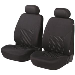 Seat Covers, Walser Premium DotSpot Front Car Seat Covers - Black For Peugeot 207 Saloon 2007 Onwards, Walser