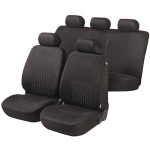 Seat Covers, Walser Premium DotSpot Car Seat Cover Set - Black for Peugeot 207 Saloon 2007 Onwards, Walser
