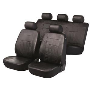 Seat Covers, Walser Premium SoftNappa Car Seat Cover Set - Black Artificial Leather for Peugeot 207 Saloon 2007 Onwards, Walser