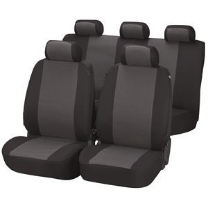 Seat Covers, Walser Premium Pineto Car Seat Cover Set - Black & Grey For Peugeot 207 Saloon 2007 Onwards, Walser