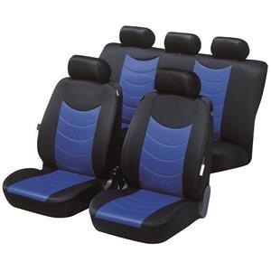 Seat Covers, Walser Premium Felicia Car Seat Cover Set - Black & Blue for Peugeot 207 Saloon 2007 Onwards, Walser