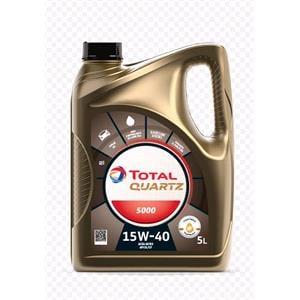 Engine Oils and Lubricants, TOTAL Quartz 5000 15W-40 Multigrade Mineral Engine Oil - 5 Litre, Total