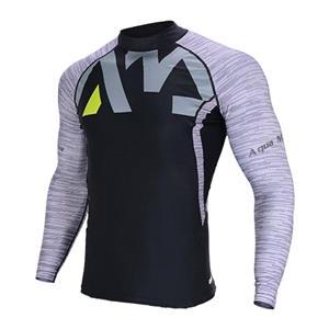 Rash Vests, Aqua Marina Division Men's Long Sleeve Rashguard - Grey Print - Medium, Aqua Marina
