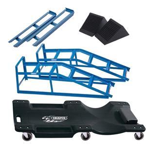 Car Jack Kits, Draper RAMPKIT DIY Mechanic Car Ramp Kit, Inc. 2 Tonne Ramps, Extenders, Wheel Chocks & Creeper, Draper