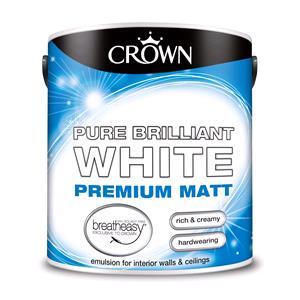 Crown Paint, Crown Matt Emulsion Paint BRILLIANT WHITE - 2.5L, Crown Paints
