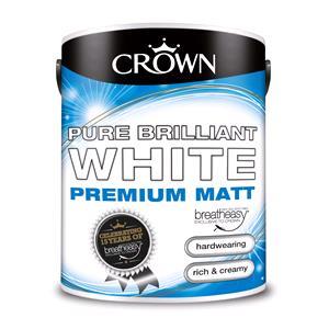 Crown Paint, Crown Matt Emulsion Paint BRILLIANT WHITE - 5L, Crown Paints