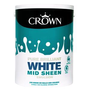 Crown Paint, Crown Mid Sheen Emulsion Paint BRILLIANT WHITE - 5L, Crown Paints