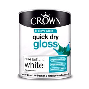 Crown Paint, Crown Quick Dry Gloss Wood and Metal Paint BRILLIANT WHITE - 750ml, Crown Paints