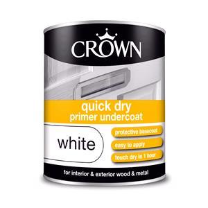Crown Paint, Crown Quick Dry undercoat Primer Paint WHITE - 750ml, Crown Paints
