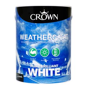 Crown Paint, Crown Weathercoat Smooth Masonry Paint BRILLIANT WHITE - 5L, Crown Paints