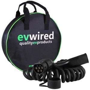 Automotive Battery Care and Chargers, EVwired EV Electric Car & Plug-in Hybrid Charging Cable - 5 Metre Coiled - 32 Amp - Type 2 - 3 Phase, EVWired