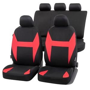 Seat Covers, Walser Caledon Car Seat Cover Set - Black & Red for Peugeot 207 Saloon 2007 Onwards, Walser