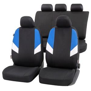 Seat Covers, Walser Cala Car Seat Cover Set - Black, Blue & White for Peugeot 207 Saloon 2007 Onwards, Walser