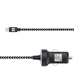 Phone Accessories, Juku Car Charger 1.2M Lightning Cable 12W (2.4A) - Power LED, Black & White Braided, JUKU