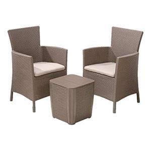 Garden Furniture, Keter Iowa Balcony Set With Cushions - Cappucino, Keter