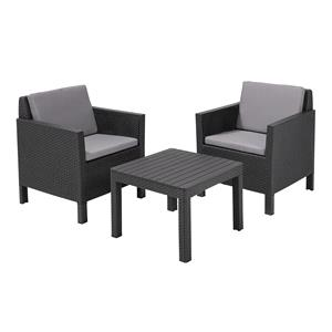 Garden Furniture, Keter Chicago Balcony Set With Cushions - Grey, Keter