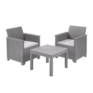 Garden Furniture, Keter Emma Balcony Set With Table and Grey Cushions, Keter