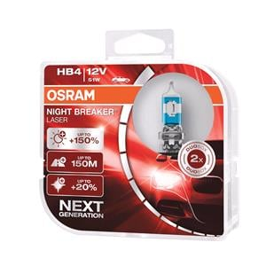 Bulbs - by Bulb Type, Osram 12V 51W Night Breaker Laser HB4 Bulbs - 150% Brighter - Twin Pack, Osram