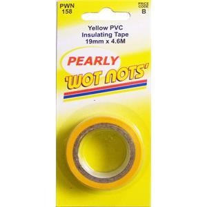 Tapes, Wot-Nots PVC Insulation Tape - Yellow - 19mm x 4.6m, WOT-NOTS