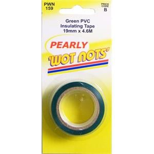 Tapes, Wot-Nots PVC Insulation Tape - Green - 19mm x 4.6m, WOT-NOTS